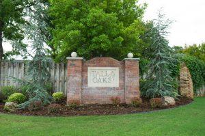 Tall Oaks neighborhood sign