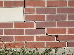 This crack in the brick was caused by cracks in the foundation at the lower right of the picture.