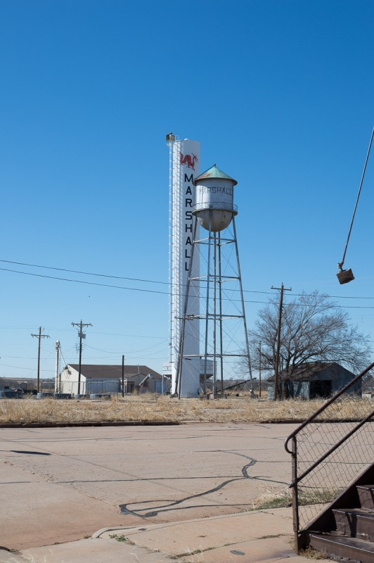 The local water tower still proudly pronounces the existence of this old Oklahoma town.