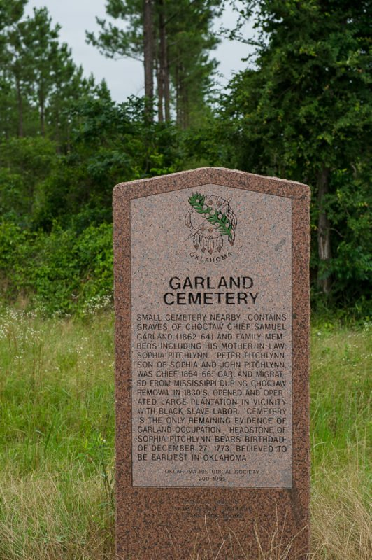 Grave marker for Garland Cemetery where the oldest known gravestone in Oklahoma is located.