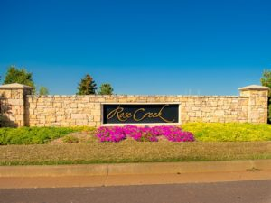 This is the entrance sign to the Rose Creek addition in west Edmond, OK