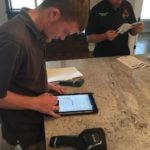 The home inspector uses a Microsoft Surface table to record their findings. In the lower part of the picture is a device that checks for moisture. This is used to detect minor leaks or potential mildew. I love how even home inspectors are going high-tech with their tools!