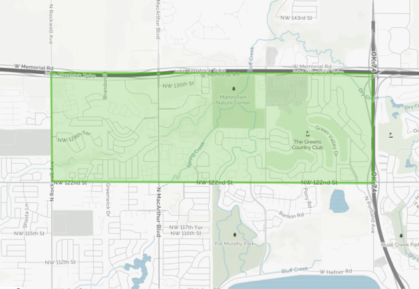 The Greens neighborhood is generally located around Mercy Hospital and is tucked in south of the Kilpatrick Turnpike and west of I-44.