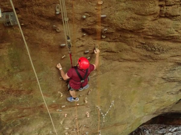 I was the only one in our group to descend into a canyon and climb out. It was pretty easy I since they provided these fantastic handholds, plus I was roped to safety.