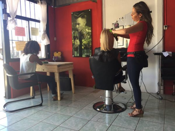 We stopped at a hair salon. They didn't speak english and we didn't speak spanish, but they were able to communicate and did a great job on Kay's hair.
