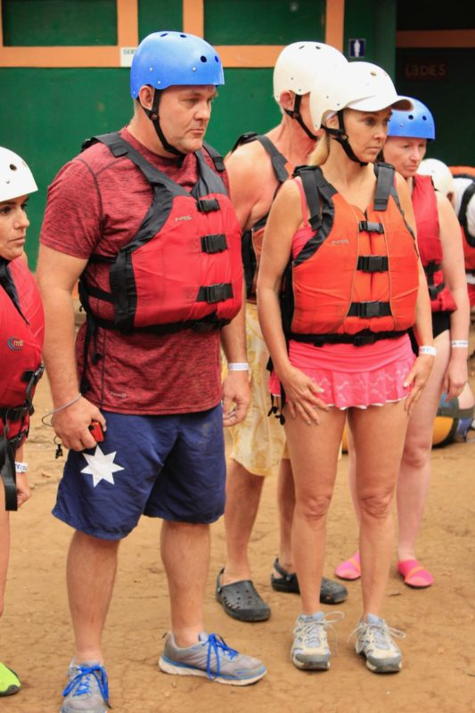 We listened to the instructions prior to tubing the river.