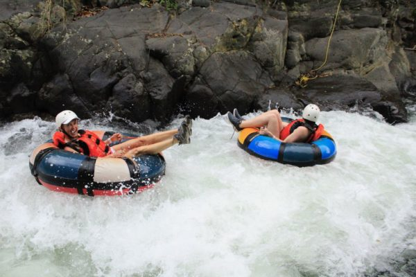 """Kay barreling down the river rapids. This was not your typical """"lazy river""""."""