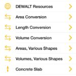 We use this Dewalt app all the time on construction projects around our home in Edmond. It is handy for simple area or length conversions, calculative volume for concrete, dirt or fill sand, and a variety of other tasks.