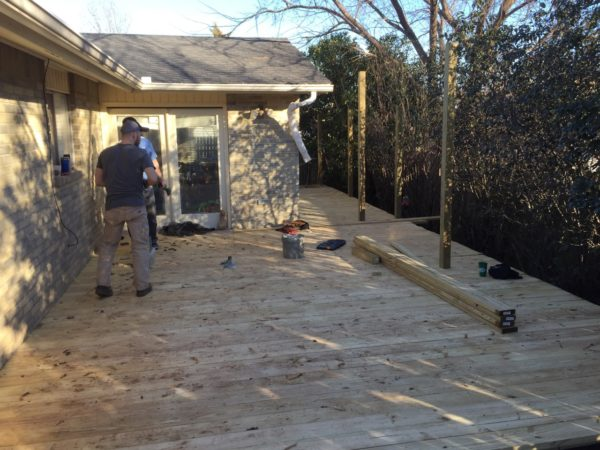 Once we had the substructure in place we installed the decking. This went fairly quickly. Finishing the railing and trim took a bit longer.
