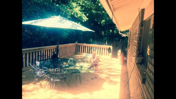 This is a blurry pick of the deck once it was completed. It made for a much more usable outdoor living area.