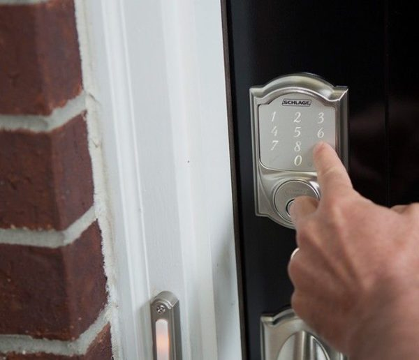 While the Schlage Sense still has a key slot and comes with a key, it offers electronic keypad access for friends and family. We can generate a unique electronic code for each family member and then track who locks and unlocks the door.