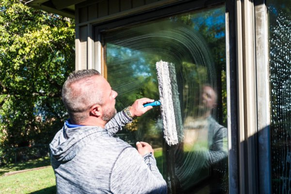 Professional window washer Tim Jarvis, owner of Jarvis Enterprises, says a soft squeegee, soft brush and steel wool, along with concentrated Dawn dish soap is the best way to clean windows.